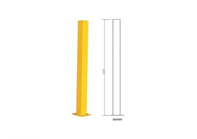 SQ1300, Square Barrier Bollard 100 x 100 x 1270, Tall Yellow Powder Coated Finish
