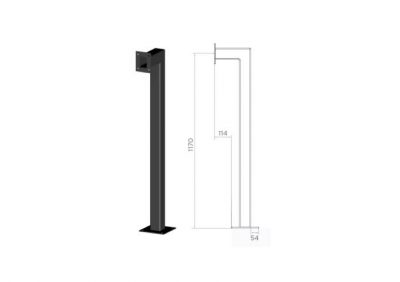 SEQ1, Floor Mount Access Control Bollard - Black