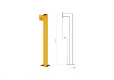 SEQ1, Floor Mount Access Control Bollard - Yellow