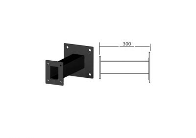 SEW300, 300m Long Square Wall Mount Black Powder Coated Finish