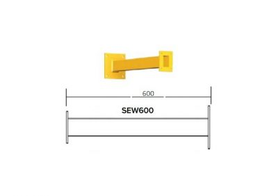 SEW600, 600m Long Square Wall Mount Yellow Powder Coated Finish